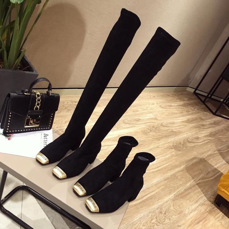 Square stockings and boots womens thick heel autumn and winter new thin boots winter short boots elastic boots womens high heel suede medium tube womens shoes