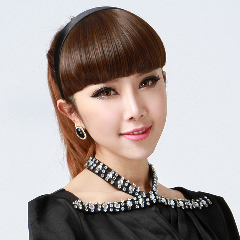 Wig bangs for women with hair hoops on the sideburns, bangs on the hair pieces, straight and straight, braids, headbands, fake bangs