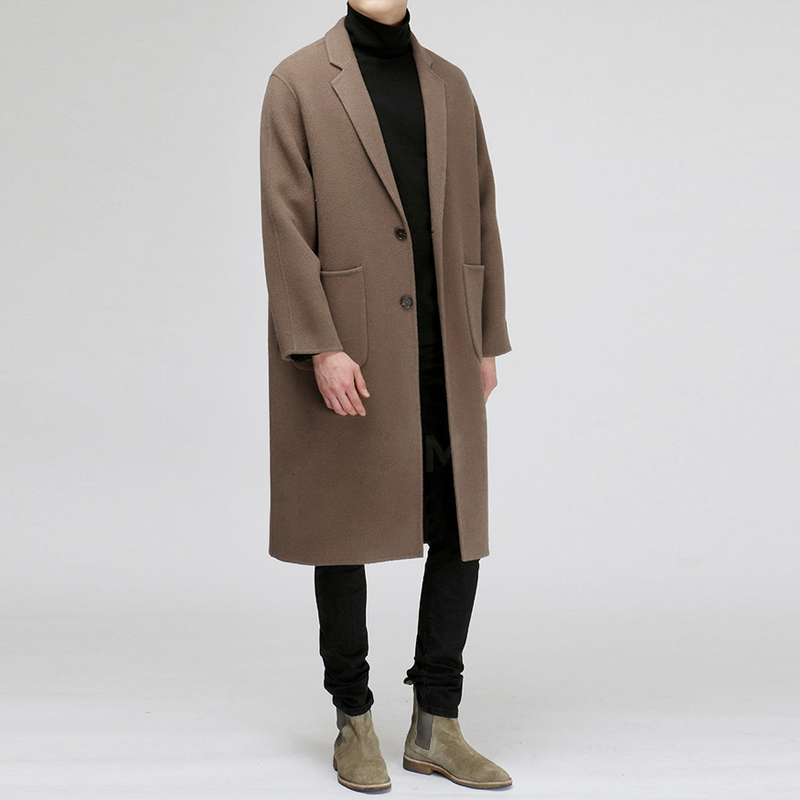 2020 Korean autumn and winter cotton new young mens mid long loose large coffee color woolen coat Nizi coat