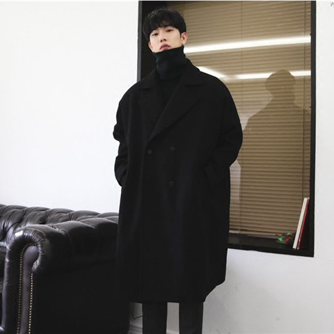 Winter coat mens cashmere coat double breasted woolen coat medium length mens windbreaker over the knee thickened student coat