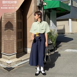 小个子半身裙女秋季高腰质感遮胯复古a字中长裙百搭显瘦百褶裙子