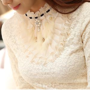 2020秋冬女装加绒加厚蕾丝打底衫韩版修身t恤长袖短款上衣小衫衣