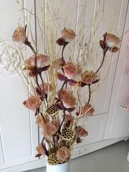 叶脉干花客厅落地假花仿真干枝插花干花大牡丹居家新房装饰包邮
