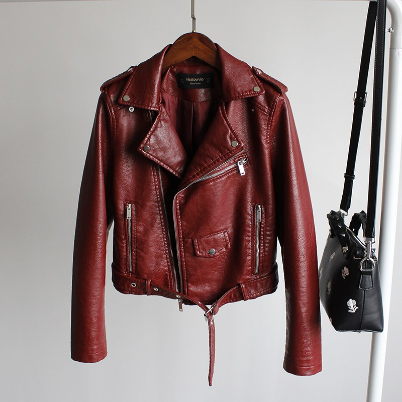 2017 spring and Autumn New Womens European and American fashion locomotive Lapel short slim Pu Jacket Small Leather Jacket Womens fashion