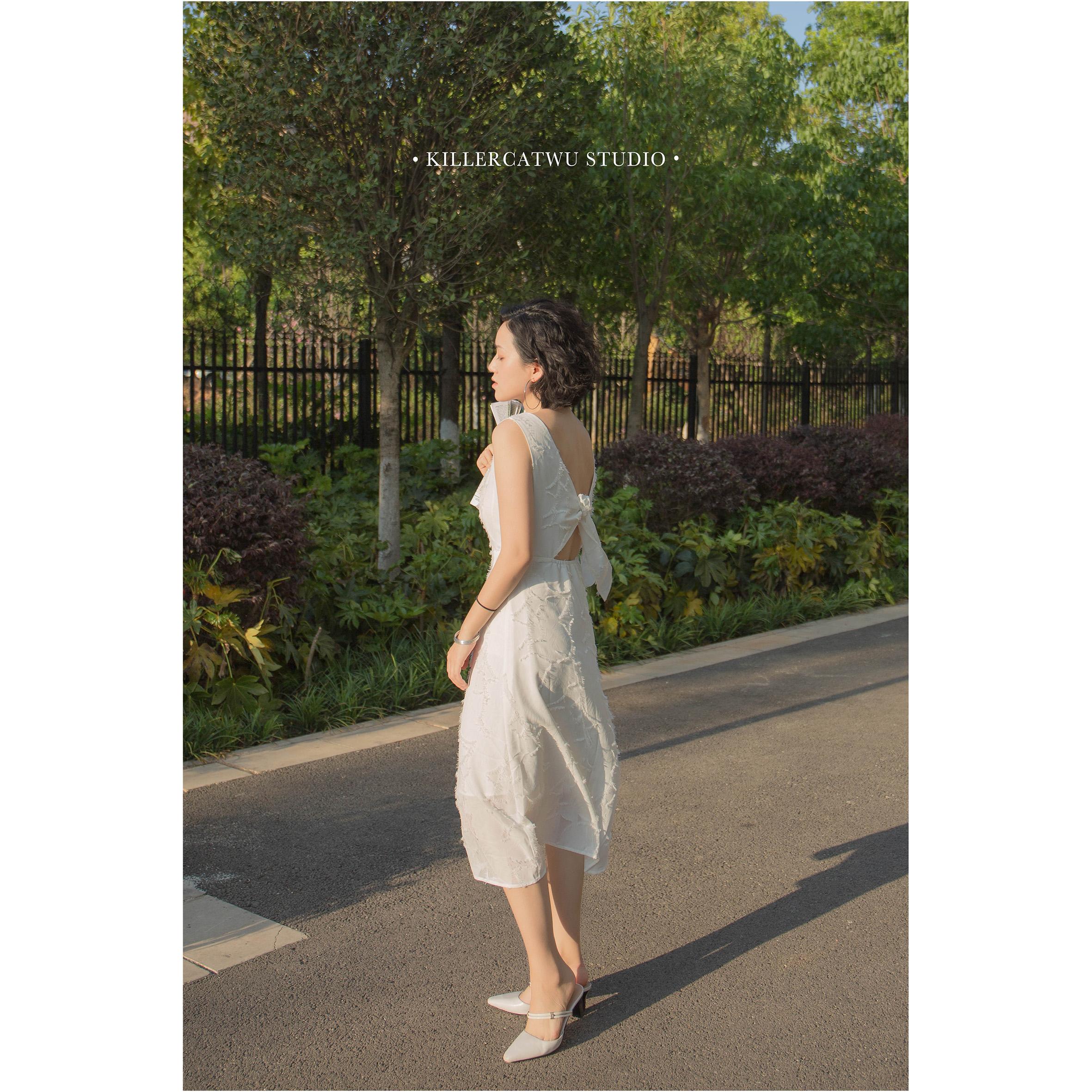 Killercatwu gentle wind summer V-neck open back strap sling A-shape petal solid color dress package