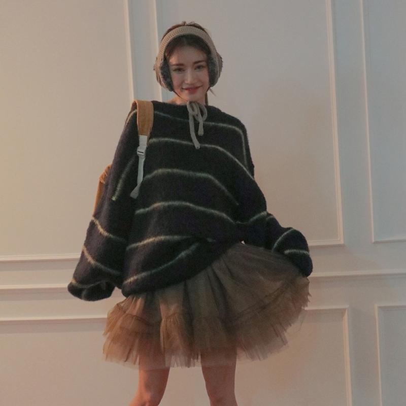 韩国东大门stylenanda宽松女生百搭撞色细条纹羊毛毛衣针织衫女