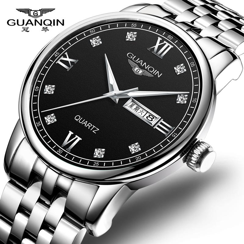 冠琴品牌正品男士手表男钢带石英表防水简约休闲商务男表国产腕表