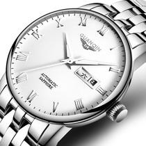 冠琴品牌正品男士手表全自动机械表防水钢带男表简约商务国产腕表