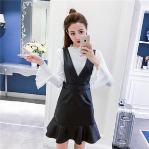 实拍,2017韩版女装喇叭袖修身显瘦包臀背带PU皮鱼尾裙短两件套