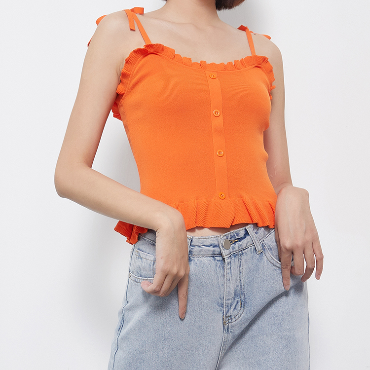 2020 South Korean new sexy womens wear top bottom candy color knitting sleeveless suspender vest summer