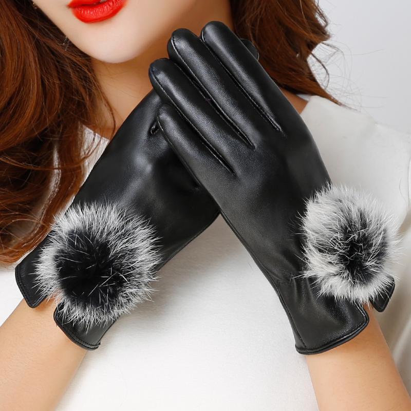 触屏皮手套兔毛加绒女士加厚保暖