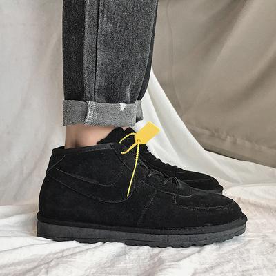 20冬款复古男式高帮加绒板鞋 磨砂保暖棉鞋雪地靴短靴子男X282P88