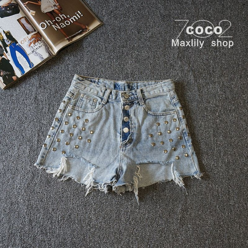 New denim shorts womens light color, high waist, rough edge, wide foot, locomotive, cool personality, punk style, fashionable and cool