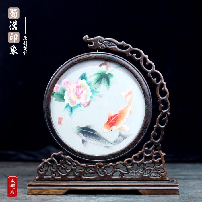 Чэнду Сычуань вышивать гибискус карп древесины Сычуань вышивать дуплекс вышивать украшение ручной работы вышивка иностранных вещь отвезти старый иностранных подарок