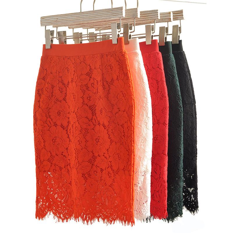 春夏新款蕾丝裙半身裙修身显瘦高腰短裙大码女装a字中长款包臀裙