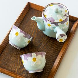 日本进口有田烧手绘紫樱花茶壶急须壶茶杯日式侧把壶功夫茶具套装