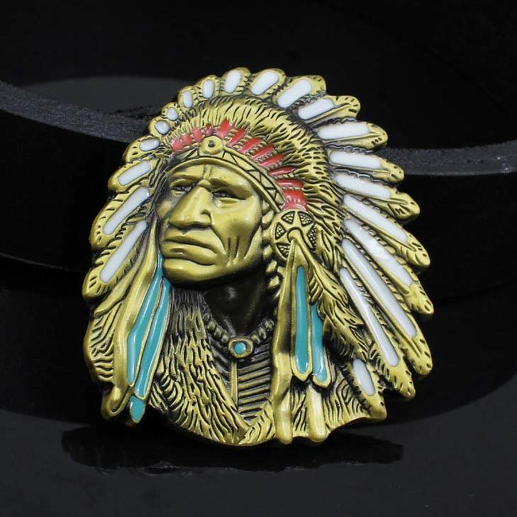 Hot selling color painted Indian Belt Buckle Western American cowboy style Button Jeans Belt Buckle fashion