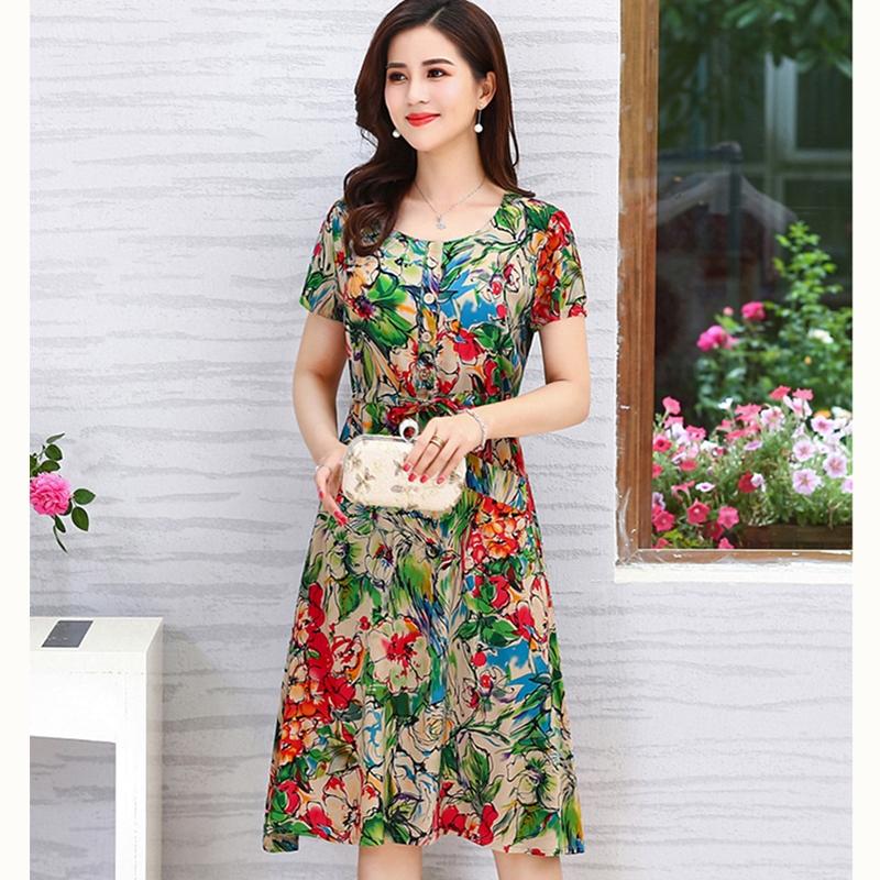 2018新款连衣裙夏季短袖中长款裙子妈妈装大码女装中老年棉绸裙子