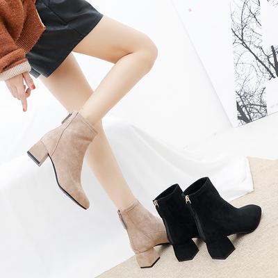 粗跟短靴女秋冬靴子2019新款韩版百搭马丁靴短筒后拉链弹力瘦瘦靴
