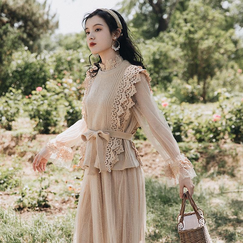 2019初秋很仙的网纱连衣裙长袖仙女超仙森系裙子针织马甲两件套女(用5元券)