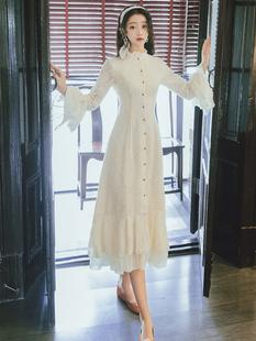 秋装女2019新款很仙的长袖雪纺连衣裙收腰气质长款仙女裙chic温柔
