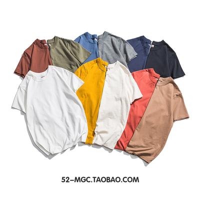 阿美咔叽重磅纯棉素色短袖T恤男女复古加厚实圆领纯色白TEE打底衫