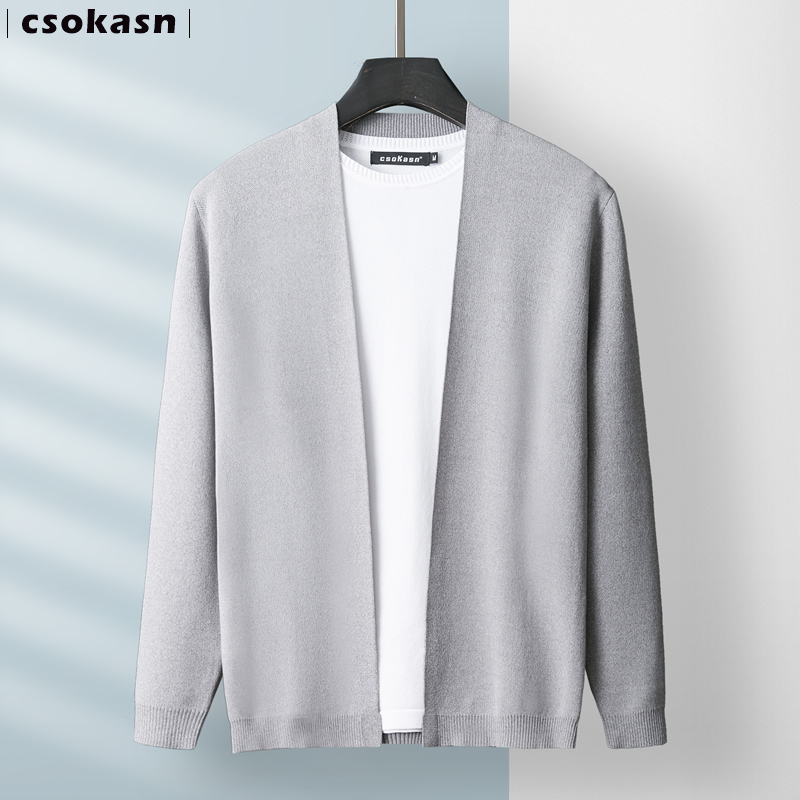 Ice silk sweater men's cardigan jacket top trend 2021 loose spring thin outer wear business wool clothes