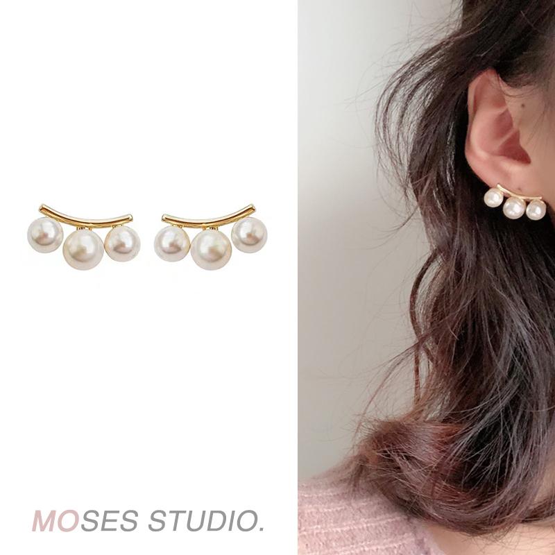 冷淡风极简大珍珠韩国气质法式优雅高级感圆弧百搭耳环耳钉耳夹女