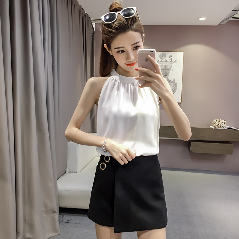 Summer womens white Halter vest Chiffon sleeveless top sexy off back off shoulder blouse