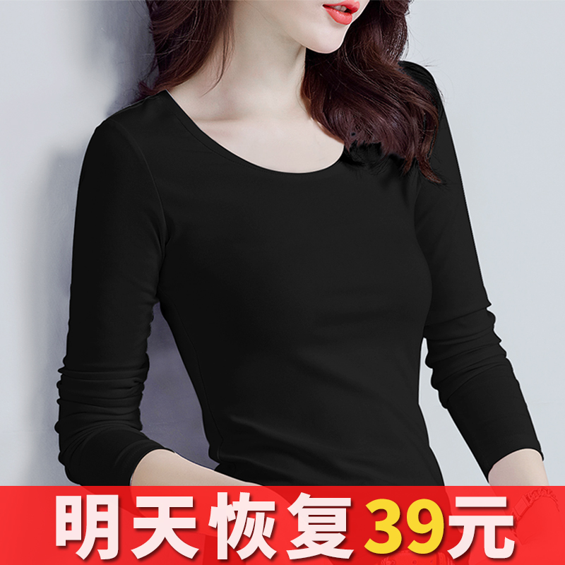 Pure cotton black bottoming blouse women's long sleeve thin tight T-shirt, warm in autumn and winter 2019, plush and thickened in autumn