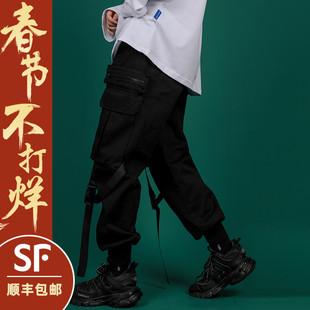 黑色工装裤女宽松bf机能风显瘦高腰直筒束脚街头ins潮hiphop裤子