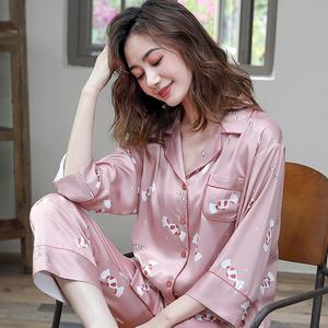 裕熙冰丝春秋款长袖甜美开衫睡衣