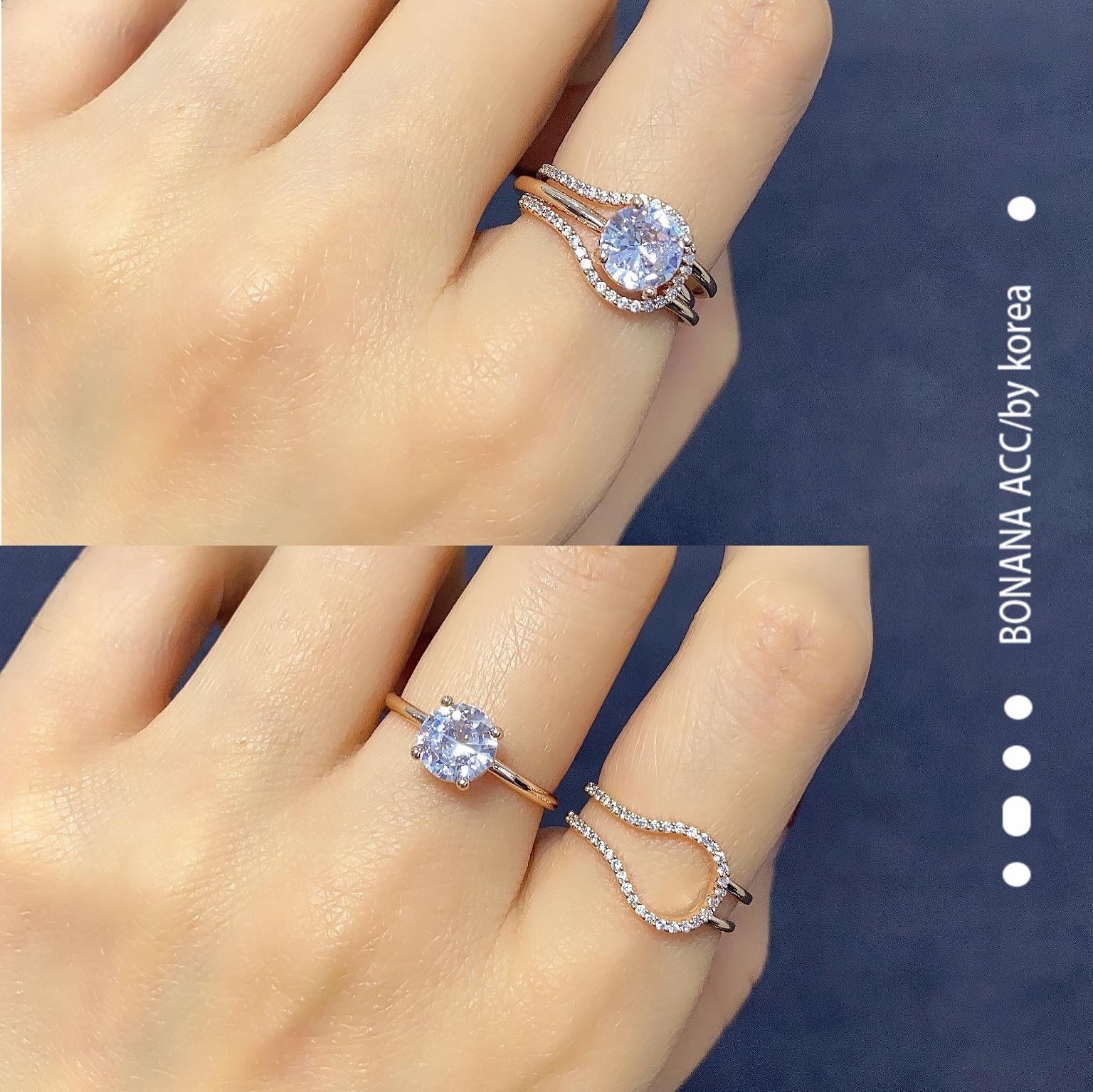 韩国东大门钻石戒指女二合一套装食指环ins潮时尚个性闺蜜一对
