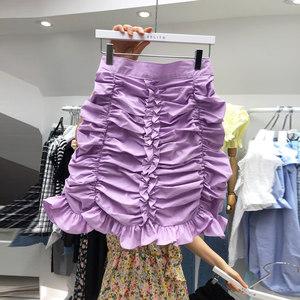 韩国东大门女装2020春夏新款韩版时尚松紧腰褶皱包臀短裙洋气百搭