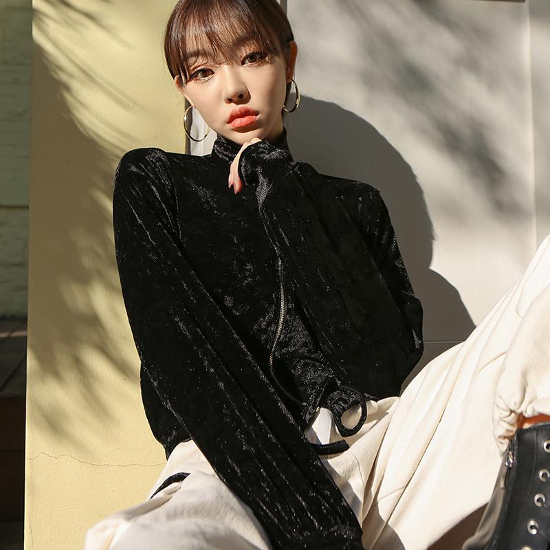 短外套2020秋季新款网红气质名媛风天鹅绒短款上衣夹克吊带两件套