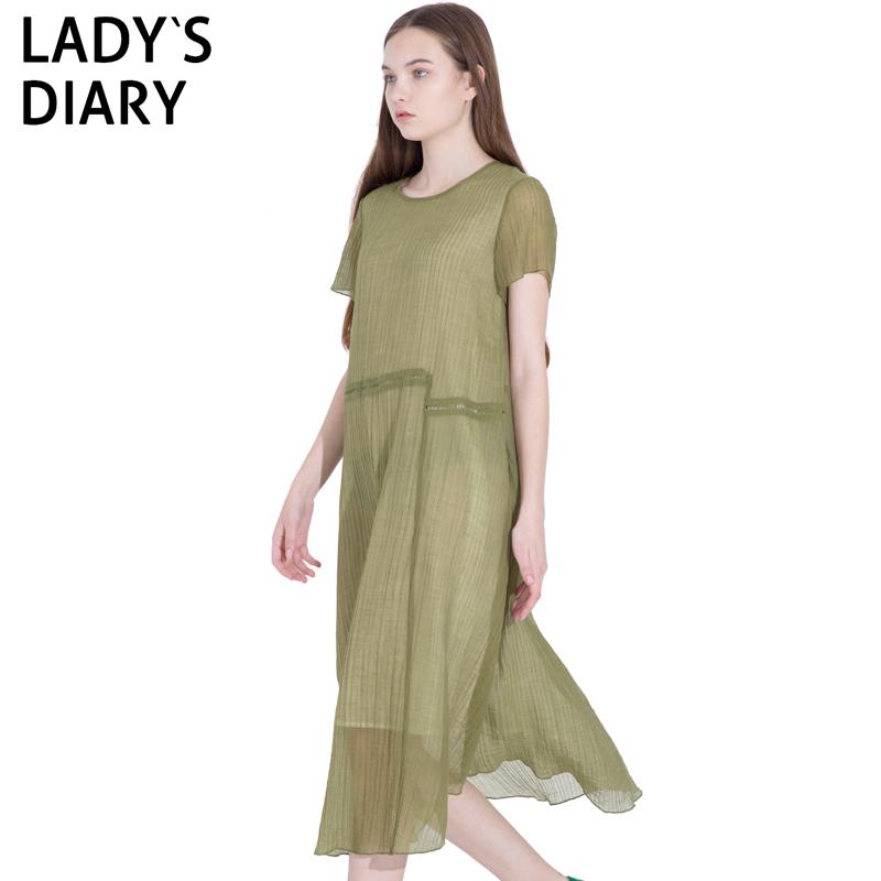 LADY'S DIARY/女性日记2019夏季新款轻薄透气连衣裙中长裙休闲款