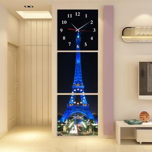 无框画挂钟艺术挂钟客厅钟表创意玄关楼梯三联装 饰画 埃菲尔铁塔
