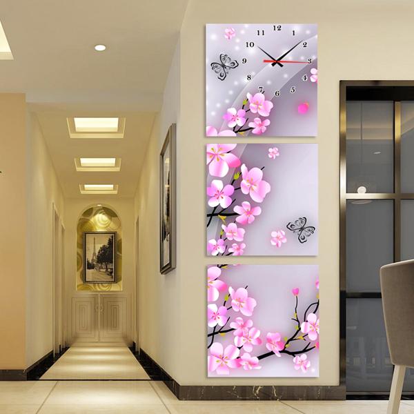 (用24元券)春暖花开三联画钟表创意艺术时针客厅玄关装饰画竖版 无框画挂钟