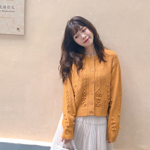 2020春装新款毛衣女日系复古手工立体球球针织开衫薄外套慵懒上衣