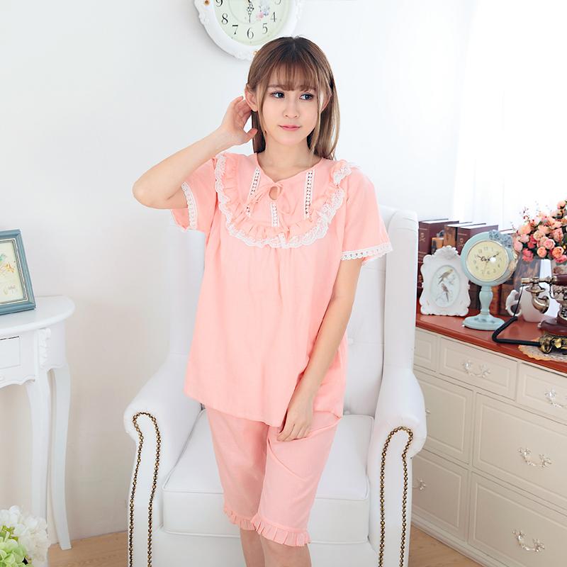 Pure cotton pajamas womens summer thin home wear set fresh leisure summer womens short sleeve shorts two piece set