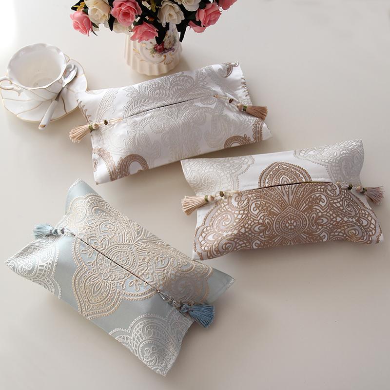 唯艺布艺欧式布艺提花纸巾套餐巾纸盒汽车纸巾盒套客厅餐厅抽纸袋