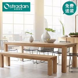 北欧全实木长条桌工作台公司会所会议室桌椅原木洽谈会客接待长桌图片