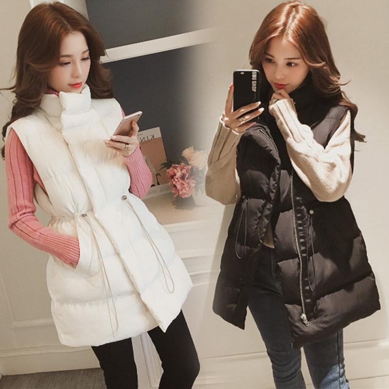 Down cotton vest womens autumn and winter middle length 2021 new fashion Korean loose waistcoat waistcoat jacket
