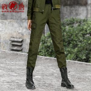 战地户外休闲工装裤女黑色作训裤子宽松战术裤军迷服装迷彩裤