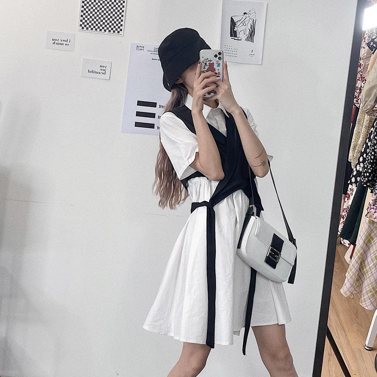 松本丧丧连衣裙短袖宽松简约衬衫裙收腰大摆白色夏款大码时尚裙子图片