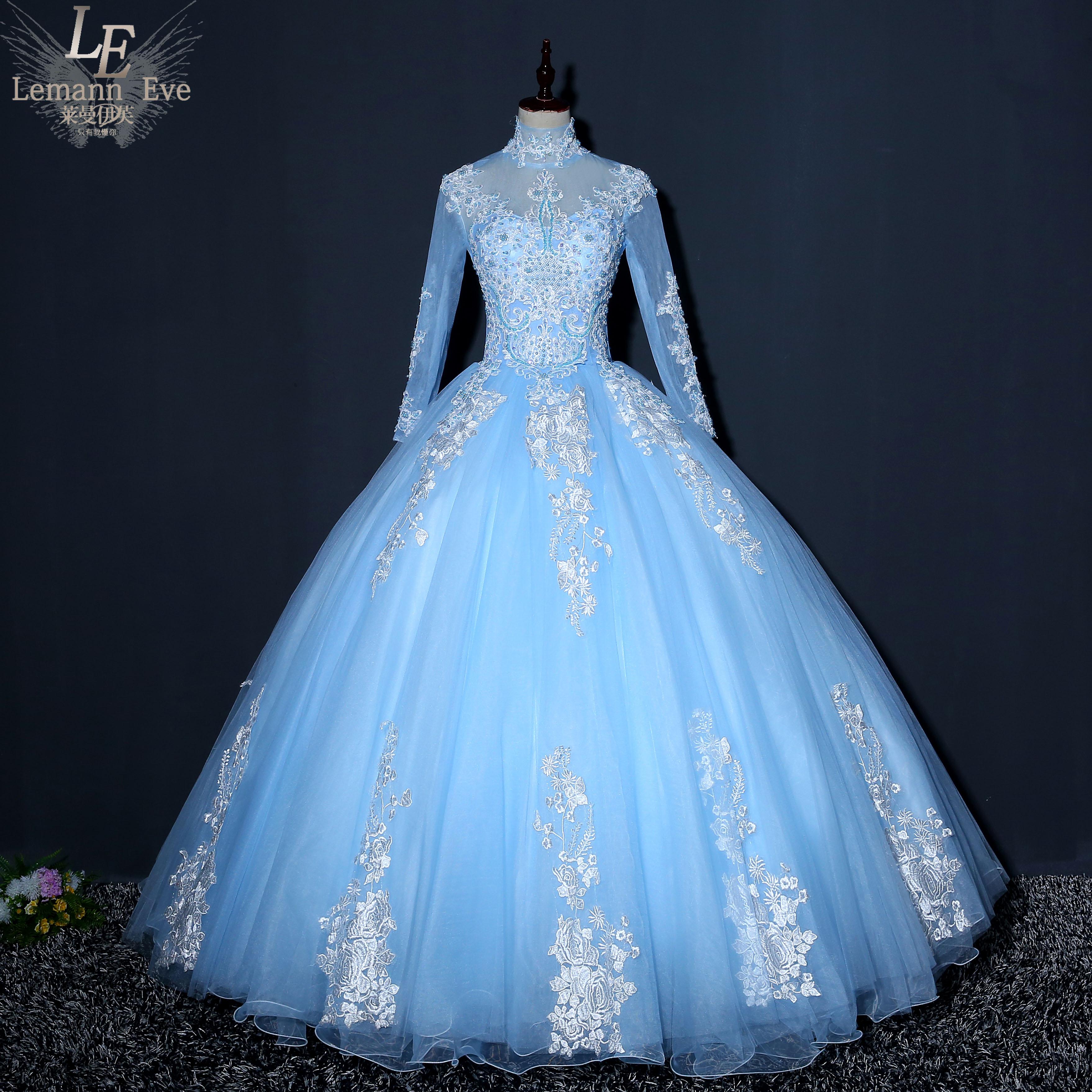新款立领彩色婚纱礼服艺考独唱演出服蓬蓬裙声乐合唱主持晚礼服女