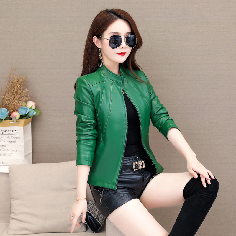 Haining Leather Womens short slim collar Korean leather jacket womens plus cotton large fashion small leather spring and autumn coat