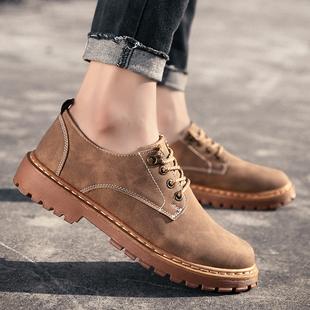 低帮男鞋 男装 马丁鞋 工作上班防滑工装 春款 青年休闲鞋 黄色棕色皮鞋