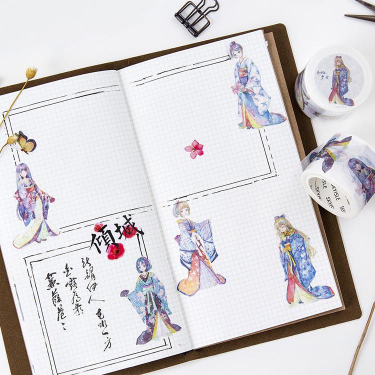 SKYISLE天空岛原创和纸胶带 和风少女手账贴纸贴画手帐日记本胶带