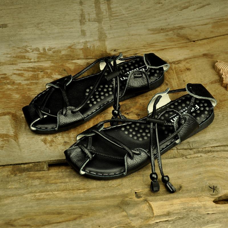 民族风夏季真皮男士凉鞋 中国风包头个性按摩罗马鞋沙滩鞋X93-P70